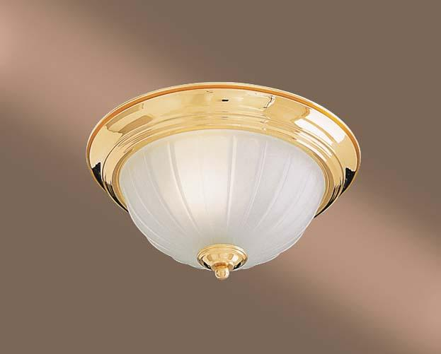 One Light Brass Bowl Flush Mount