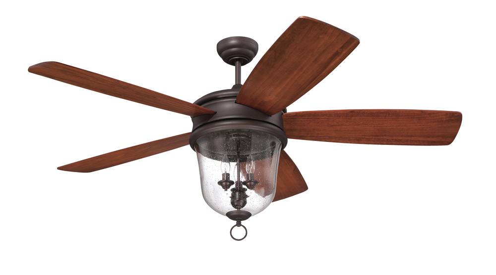 "House of Lights in Mayfield Heights, Ohio, United States,  P098, Fredericksburg 60"" Ceiling Fan with Blades and Light in Oiled Bronze Gilded, Fredericksburg"