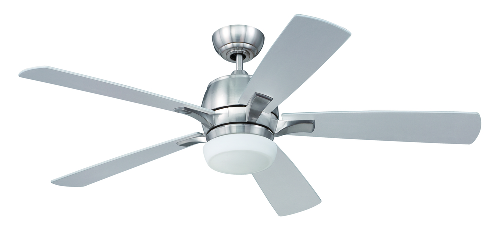 "Pulsar 52"" Ceiling Fan with Blades and Light in Stainless Steel"