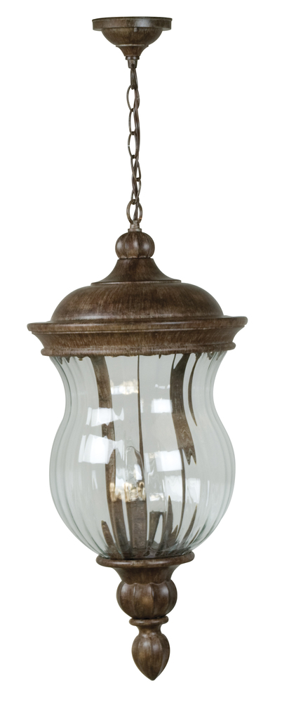 Three Light Ancient Iron Clear Ribbed Glass Hanging Lantern
