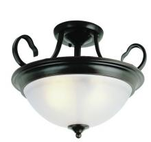 Trans Globe 7292 ROB - Three Light Rubbed Oil Bronze White Frosted Glass Bowl Semi-Flush Mount