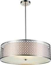Crystal World 5555P22SN - 5 Light Satin Nickel Drum Shade Chandelier from our Mikayla collection