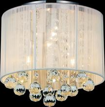 Crystal World 5556C10C-R (W) - 4 Light Chrome Drum Shade Flush Mount from our Shower collection