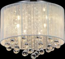 Crystal World 5556C14C-R (W) - 6 Light Chrome Drum Shade Flush Mount from our Shower collection
