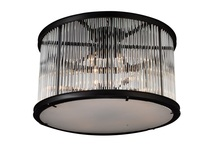 Crystal World 9861C32-12-101 - 12 Light Black Cage Flush Mount from our Mira collection