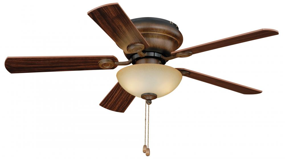 "House of Lights in Mayfield Heights, Ohio, United States,  ERNA, Expo 42"" Flushmount Ceiling Fan Aged Walnut, Expo"