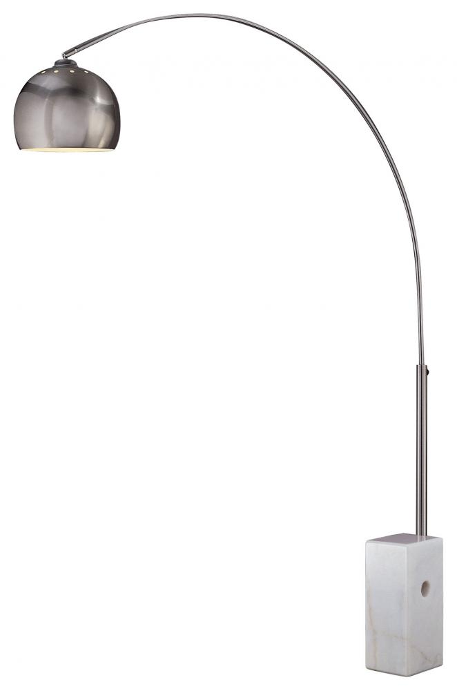 House of Lights in Mayfield Heights, Ohio, United States,  58UN, One Light Shade  - Metal Brushed Stainless Steel With White Marble Base Floor Lamp,