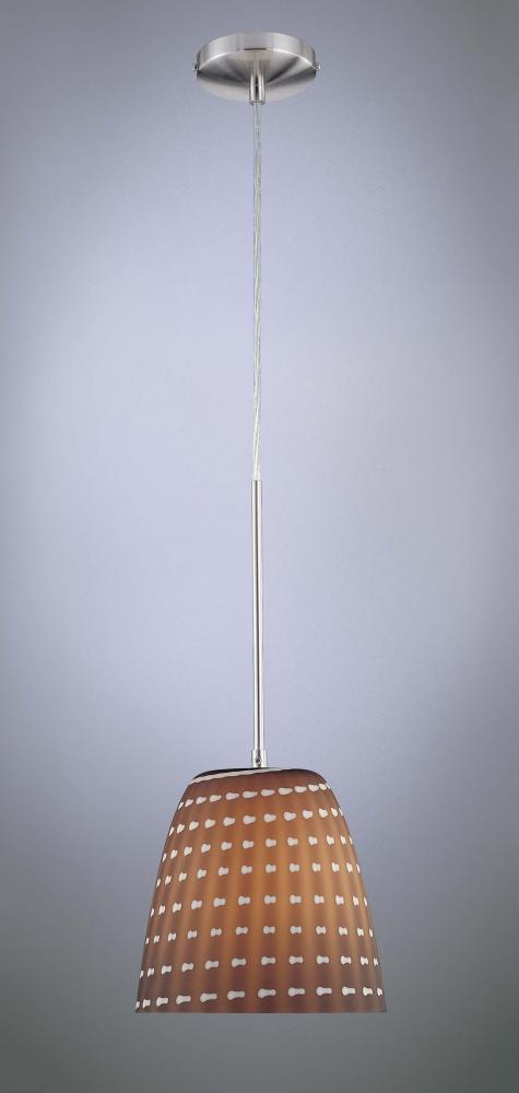 House of Lights in Mayfield Heights, Ohio, United States,  5CQU, One Light Brushed Nickel Cappuccino Glass Down Pendant,