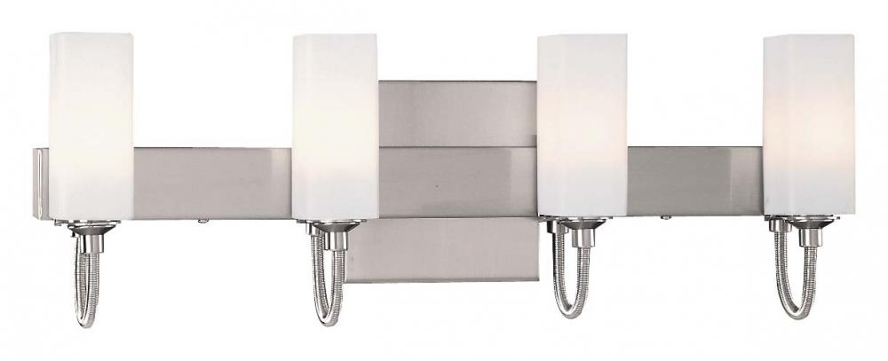 Four Light Brushed Nickel Cased Opal Etched Glass Vanity