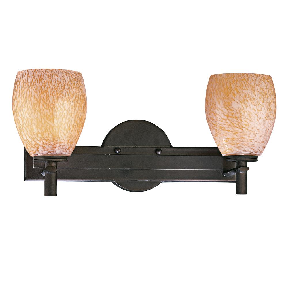 Two Light Bronze Carmel Art Glass Vanity
