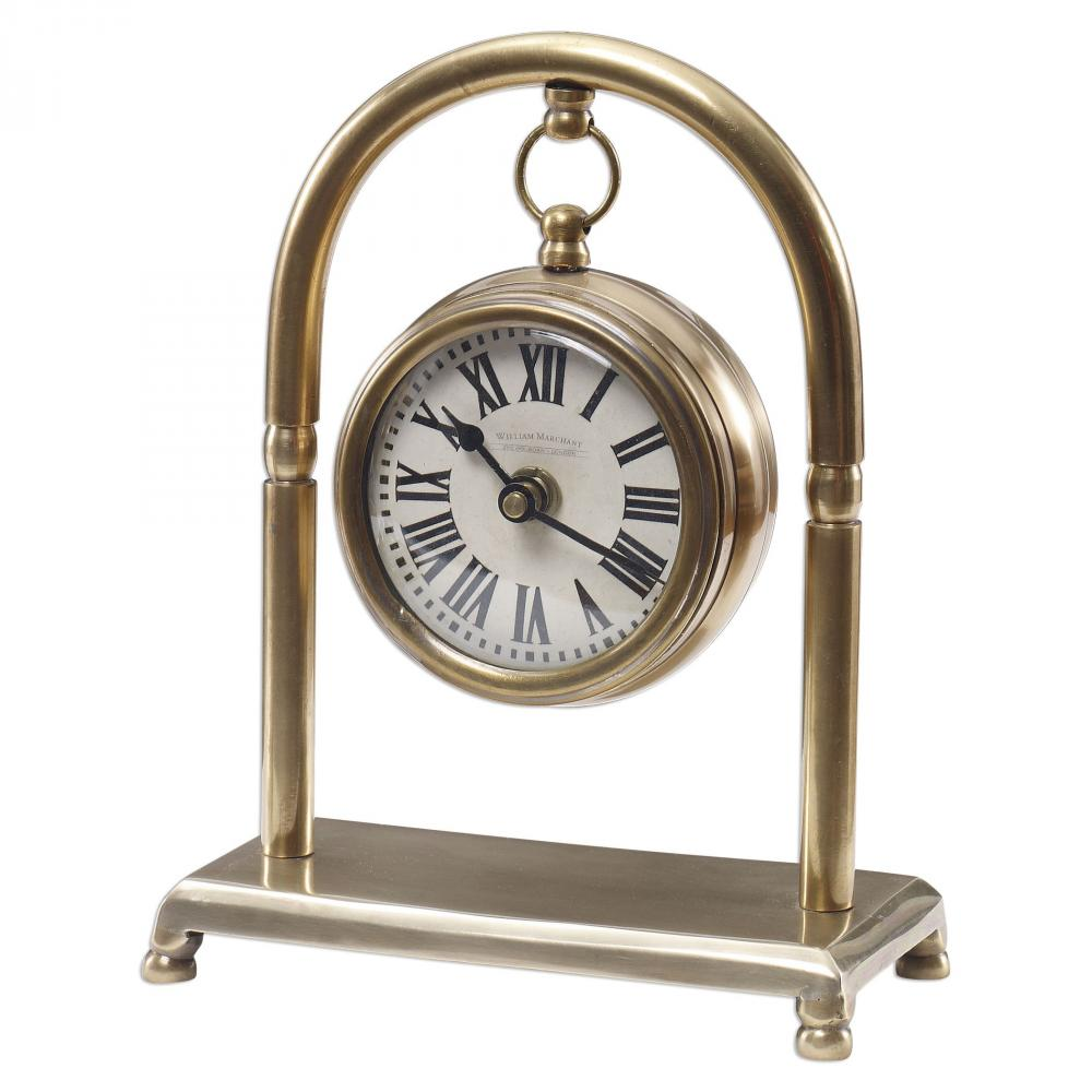House of Lights in Mayfield Heights, Ohio, United States,  9PYVW, Uttermost Bahan Brass Table Clock, Bahan