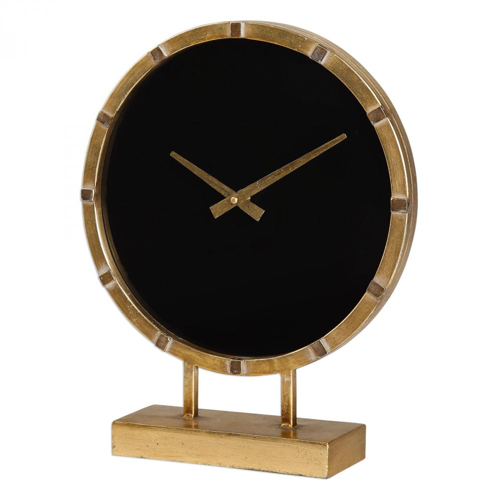 House of Lights in Mayfield Heights, Ohio, United States,  9PYVY, Uttermost Aldo Gold Table Clock, Aldo