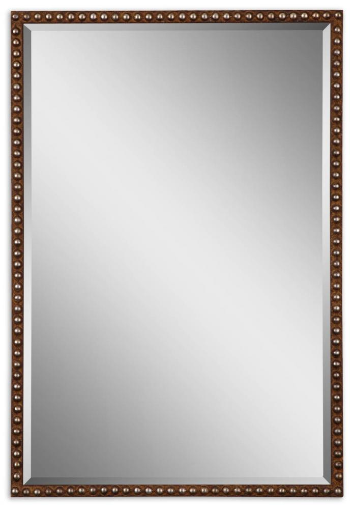 House of Lights in Mayfield Heights, Ohio, United States,  MTQH, Uttermost Tempe Distressed Brown Mirror, Tempe
