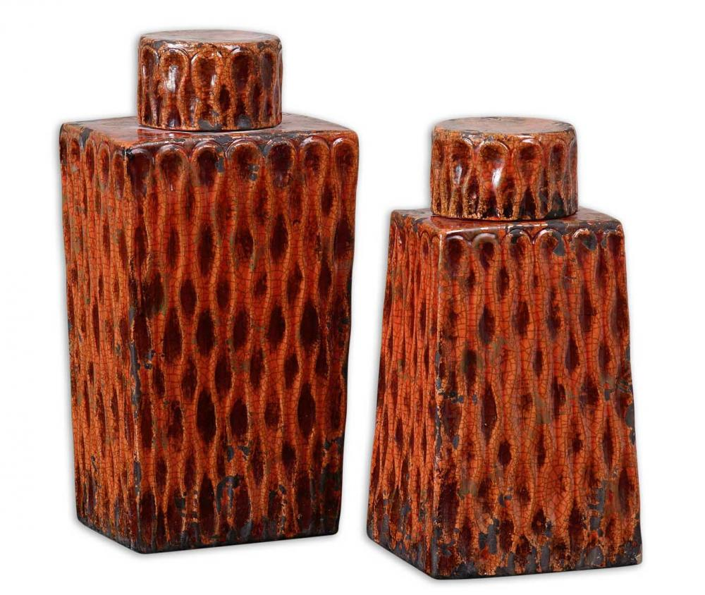 House of Lights in Mayfield Heights, Ohio, United States,  QXAE, Uttermost Raisa Burnt Orange Containers, Set/2, Raisa