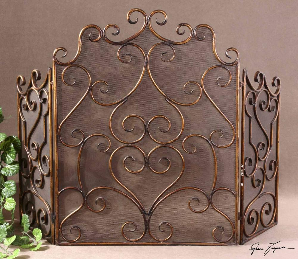 House of Lights in Mayfield Heights, Ohio, United States,  Y1KA, Uttermost Kora Metal Fireplace Screen, Kora