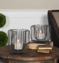 Uttermost 19974 - Uttermost Flare Black Wire Candleholders S/2